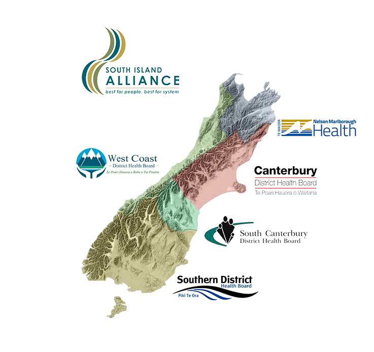 South Island Alliance DHB map